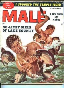 Male Magazine December 1955- Wild Piranha attack cover G/VG