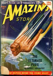 Amazing Stories Pulp March 1950- The Ultimate Peril- Human Rocket cover