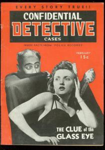 CONFIDENTIAL DETECTIVE CASES FEB 1943-WEIRD MENACE-PULP FN/VF