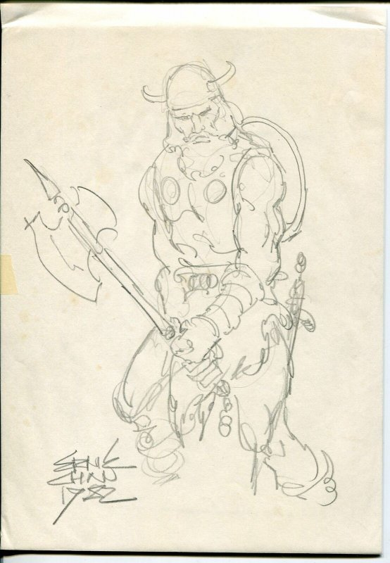 Viking Pencil Sketch by Ernie Chan-1982- 8 1/2 X 11-convention sketch-VG