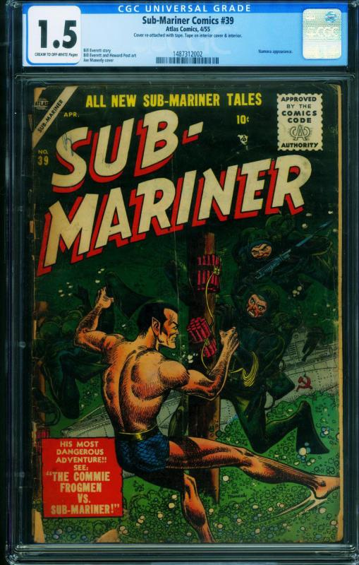 Sub-Mariner #39 CGC 1.5-Rare ATLAS comic book-1955 1487312002