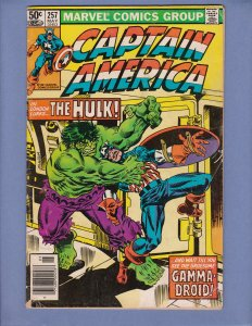 Captain America #257 VG Incredible Hulk Appearance Marvel 1981