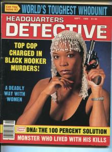 Headquarters Detective 9/1989-Spicy babe-black hooker murders-pulp crime-VG