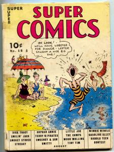 Super Comics #15 1939- Dick Tracy- Smokey Stover- Lobster cover VG-