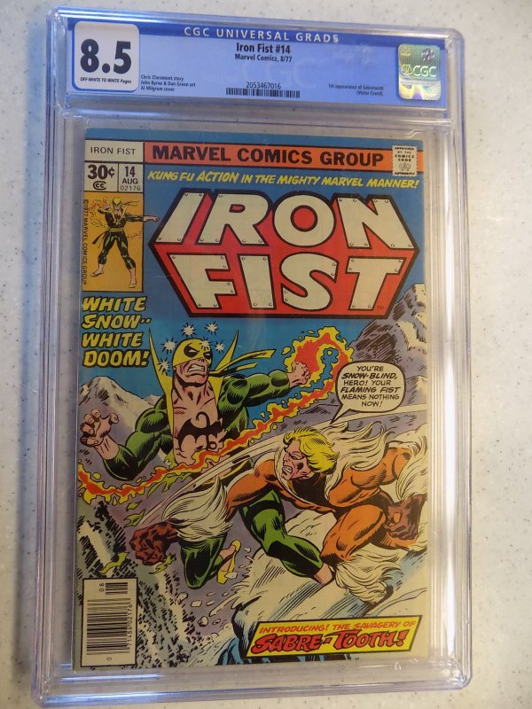 IRON FIST # 14 MARVEL 1ST SABRE-TOOTH CGC 8.5