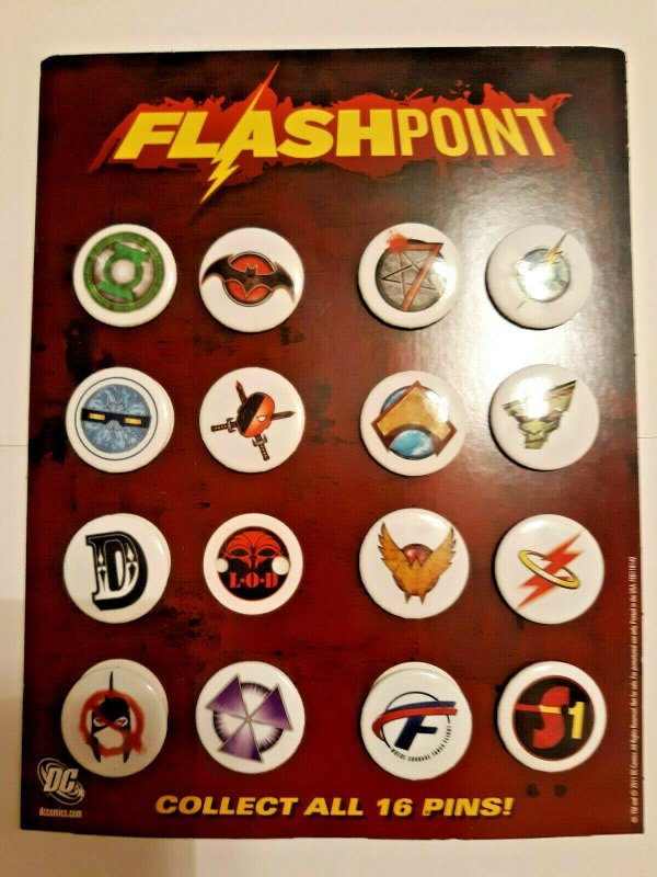 Promo Set 15/16 DC Comics Flashpoint Promo Buttons/Pins on Retailer Promo Card
