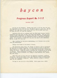 Historical FANZINE Collectible: BAYCON Progress Report 1967 - Scarce collectible