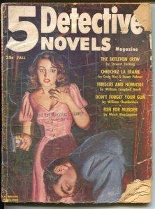 5 Detective Novels-Fall 1953-Thrilling-final issue-Craig Rice-Wyatt Blassinga...