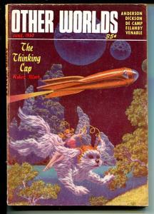 Other Worlds 6/1953-sci-fi pulp fun-L Sprague De Camp-Bok-Bloch bio-VG