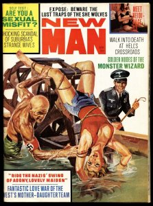 New Man April 1968-NORMAN SAUNDERS NAZI water torture cover-Pulp mag
