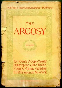Argosy September 1897- Early Pulp fiction title poor