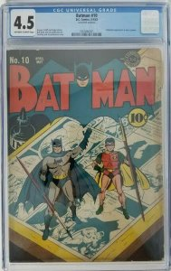 Batman #10~1942 DC~CGC 4.5 (VG+)~Catwoman Appearance in New Costume