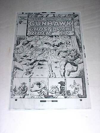 WESTERN GUNFIGHTERS-COVER-RARE-PRODUCTION ART