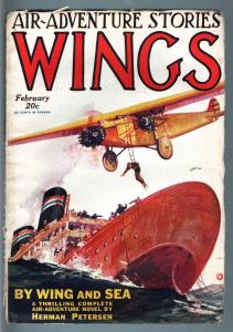 WINGS FEB 1928-SECOND ISSUE-RARE AVIATION PULP VG/FN