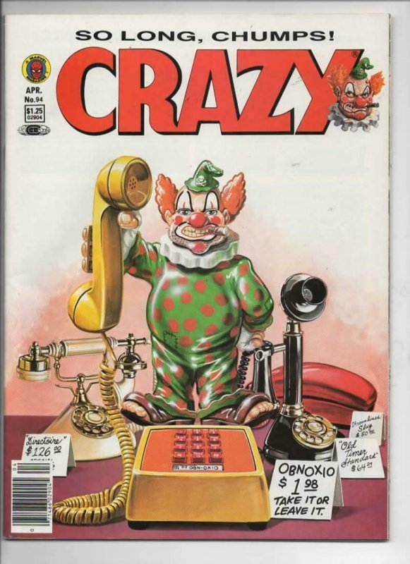 CRAZY #94 Magazine, FN+, Obnoxio, Last issue, Avengers 1973 1983, more in store