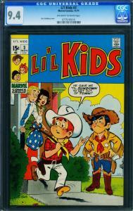 Li'l Kids #3 1971 CGC 9.4 -stan Goldberg-off-white To White 0775195010