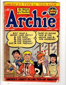 Archie # 67 VG Golden Age Comic Book Betty Veronica Jughead Reggie JL28
