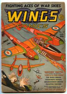 Wings Comics #12 1941- Suicide Smith- Skull Squad- restored G/VG