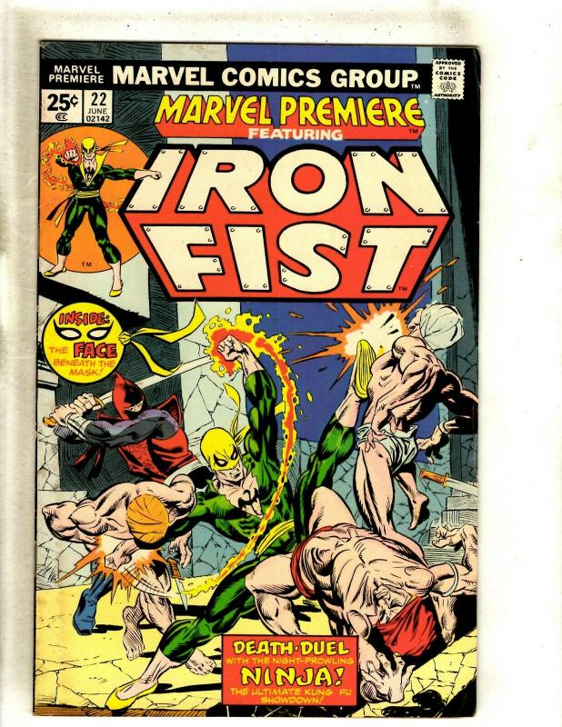 Marvel Premiere # 22 FN Comic Book Feat. Iron Fist Karate Defenders RS1