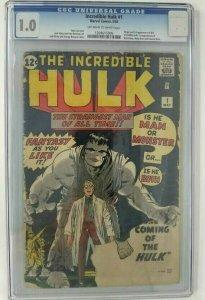 1962 Marvel The Incredible Hulk #1 CGC 1.0 (FR); Origin of the Hulk