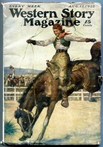 Western Story Magazine Pulp August 12 1922- Peg Leg Garfield VG-
