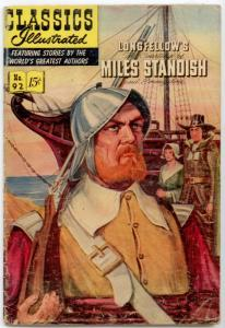 Classics Illustrated #92  1st EDITION - The Courtship of Miles Standish  VG- 3.5