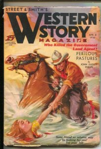 Western Story 4/4/1936-Water rescue cover-Perilous Pastures by John Dudley ...