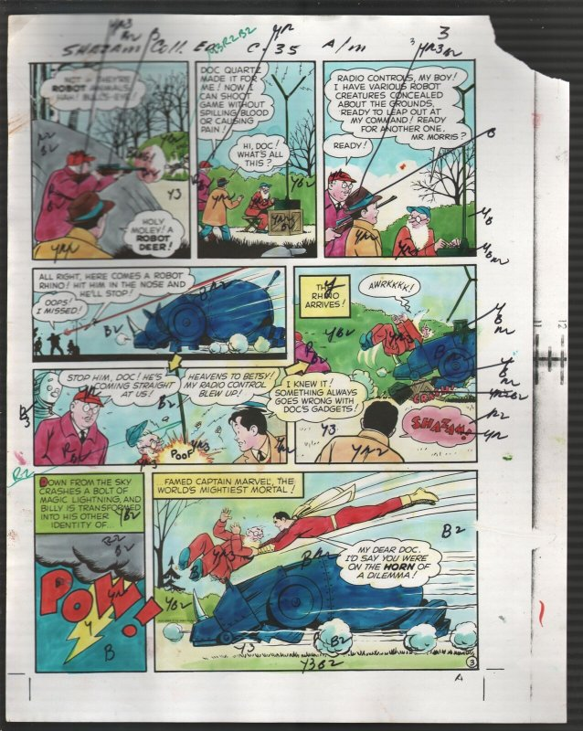 Hand Painted Color Guide-Capt Marvel-Shazam-C35-1975-DC-page #3-robot-G/VG