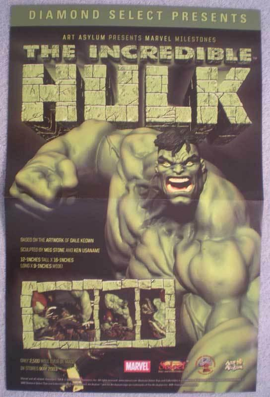 INCREDIBLE HULK STATUE Promo poster, 11x17, Unused, more Promos in store