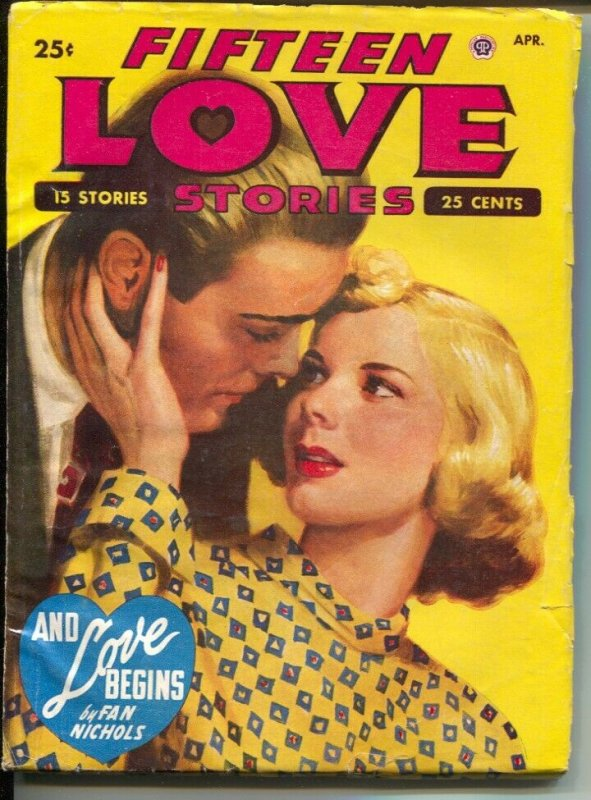 Fifteen Love Stories #4 4/1949-female pulp authors-pin-up girl cover art-rare-FN