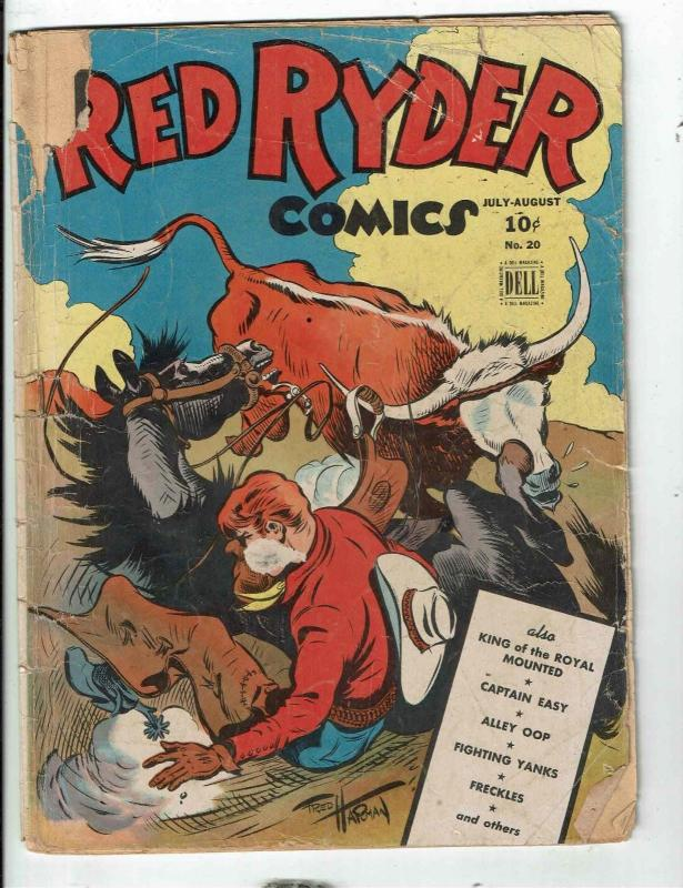 Red Ryder Comics # 20 GD Dell Golden Age Comic Book Tonto Horse Cow Bull JL1