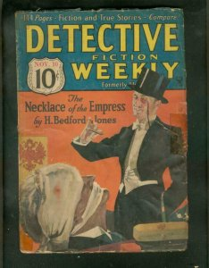DETECTIVE FICTION WEEKLY PULP- 11/10/34-TORTURE COVER G/VG