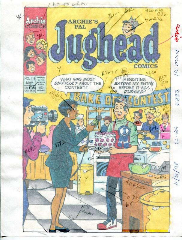 Jughead Comics #116 Hand Painted Cover Color Guide 1998-Archie-Lindsay-FN