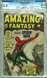 Amazing Fantasy #15 CGC Graded 3.0 O/W Pages; 1st Spider-Man