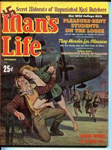 Man's Life 11/1961-Nazi butchers-cheesecake-female cannibals-war-WWII-FN/VF