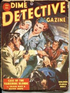 DIME DETECTIVE---DEC 1952-NORMAN SAUNDERS AIR LINE STEWARDESS COVER--CRIME PULP