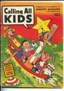 Calling All Kids #4 1946-Parents-Robinson Crusoe-Superhero Lightning-Twinkle-VG