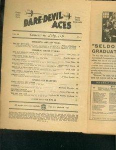 DARE-DEVIL ACES PULP-JULY 1937-BARGAIN READING COPY-WWI P