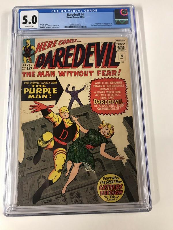 Daredevil 4 Cgc 5.0 Ow Pages 1st Purple Man Marvel Silver Age