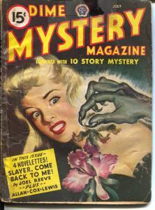 Dime Mystery 7/1945-pulp horror cover-Ray Bradbury-Talmage Powell-G+