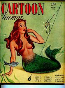 Cartoon Humor-Spring 1949-mermaid cover-Earle Bergey-Machamer-cartoons-Tobey-FN