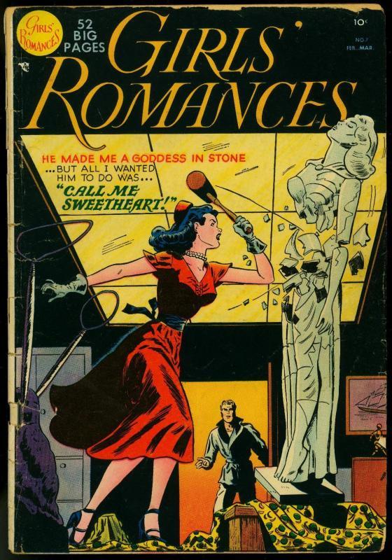 Girls Romances #7 1951-1st drawn cover- DC Romance VG-