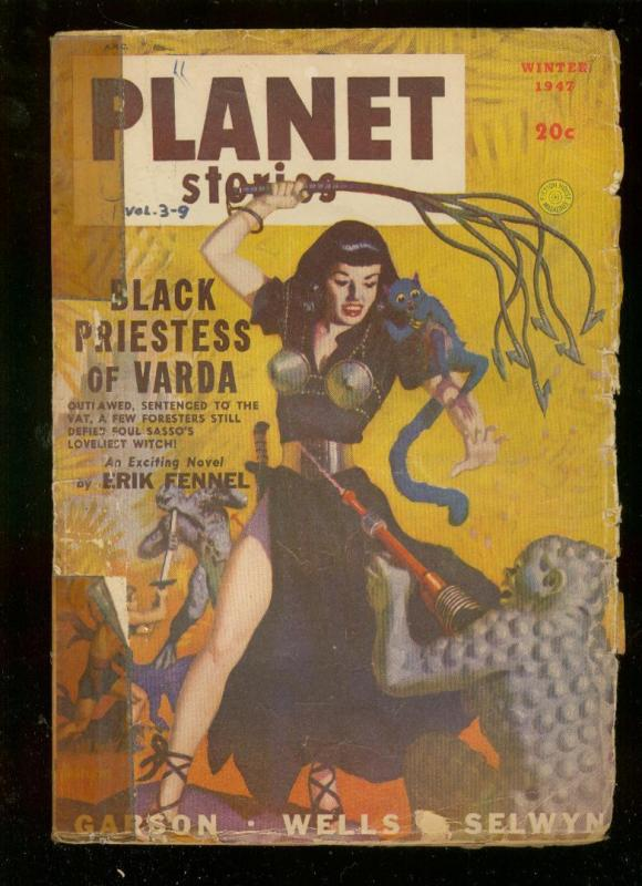 PLANET STORIES-WINT 1947-GOOD GIRL ART WHIPPING COVER-  FR/G