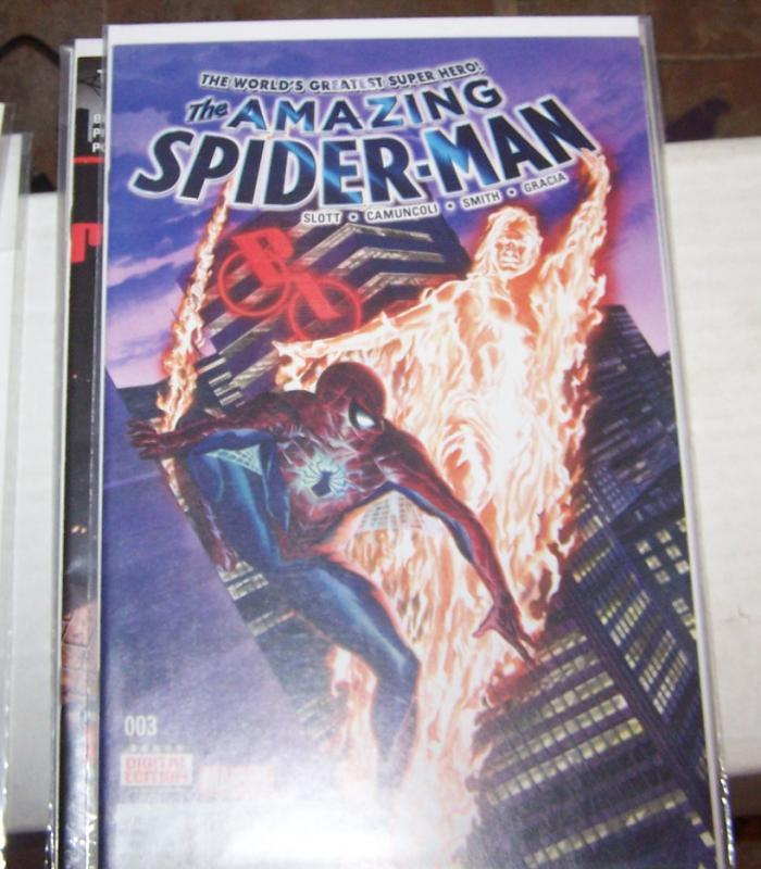 Amazing Spider-Man #  3 2015 Marvel)  alex ross cover   HUMAN TORCH PETER PARKER
