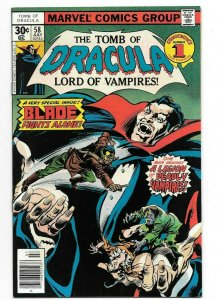 Tomb of Dracula #58 VF+ All Blade Issue 1st Print Marvel Bronze Age Comic 1977