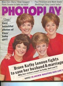 Photoplay-Lennon Sisters-Dino Martin-Mia Farrow-Elvis-April-1968
