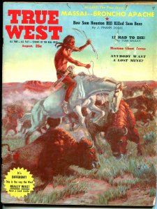 True West 7/1959-Indian buffalo hunt-Apache Indians-Western pulp thrills-VG