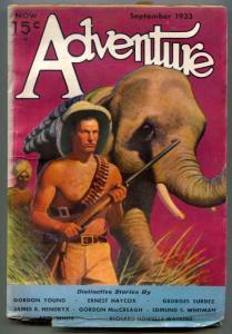 Adventure Pulp September 1933- elephant cover- Haycox