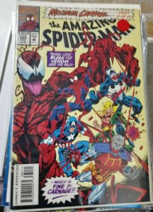 Amazing Spider-Man # 380 1993 marvel MAXIMUM CARNAGE pt 11 venom cap nightwatch
