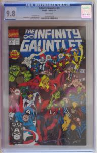 INFINITY GAUNTLET #3, CGC = 9.8, NM/M, Thanos, Avengers, 1991, more in store